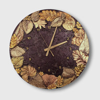 Large Wall Clock, UNIQUE CLOCK, Art Wall clock, wood wall clock, LEAF Wall Clock,