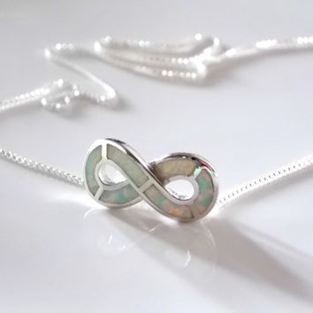 Opal Infinity Necklace Sterling silver. Floating Opal necklace. White Opal Infinity Necklace. Floating Infinity Necklace.
