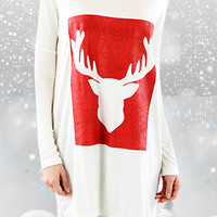 Moose Christmas Tunic {Red} PREORDER