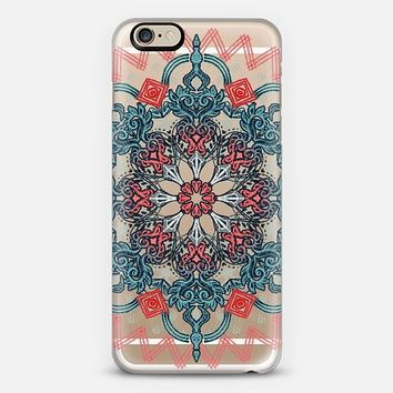Coral & Teal Tangle Medallion on Crystal Transparent iPhone 6 case by Micklyn Le Feuvre | Casetify