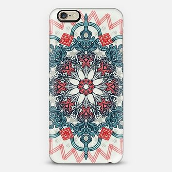 Coral & Teal Tangle Medallion on Cream iPhone 6 case by Micklyn Le Feuvre | Casetify
