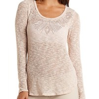 Rhinestone-Embellished Sweater Knit Top by Charlotte Russe - Blush