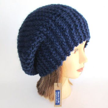 Beret style hat - slouch hat - navy hat for women - handknit hat - chunky knit hat - fashion accessory - warm winter hat - wool knit beanie