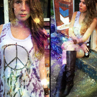 Native Dream Catcher Graphic Purple Tie Dye Muscle Tank by Chaser