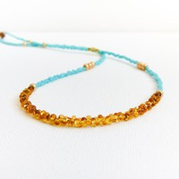 Turquoise Gold Topaz Tiny Seed Bead.. on Luulla