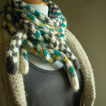 Very long soft UNISEX scarf  - hand knitted - rope scarf . skinny scarf