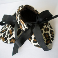 Baby shoes, fabric shoes, animal print, soft shoe, cute, ribbon ties, brown, baby girl shoes, mary janes, bootees, sample price