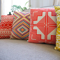 Native Quilt Pillow - Tangerine / Persimmon / Orange - Screen Printed Organic Cotton