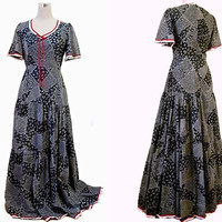 Kati At Laura Phillips - Boho Maxi Dress - Black / White Patchwork Effect Red White Lace Trim - Tall Extra Long - Vintage Dress - 70's Dress
