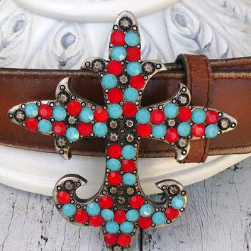 Turquoise Red Crystal Large Cross Belt Buckle Western Cowgirl Rodeo Buckle