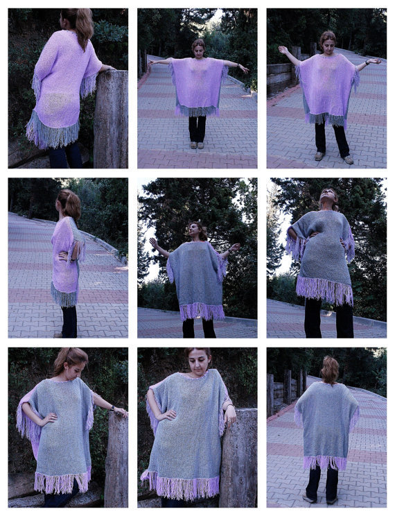 Hand knitted Gray&amp;Lilac Spangled Fringe Edged Elegant Pancho
