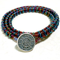 Triple Wrap Czech Superduo Blue Iris and Ruby Red BOHO Beaded Bracelet