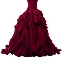 Sunvary Luxurious Burgundy Ball Gown Quinceanera Dresses for Prom with Ruffles