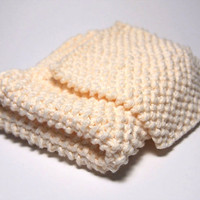 Hand Knit Natural White Washcloth and Scrubbie Set