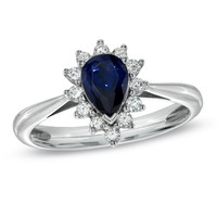 Lab-Created Blue and White Sapphire Ring in Sterling Silver