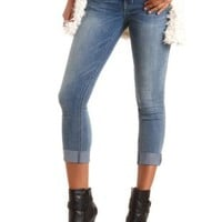 Low Rise Cuffed & Cropped Jeans by Charlotte Russe - Med Wash Denim