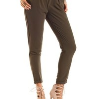 Pleated High-Waisted Trousers by Charlotte Russe - Olive