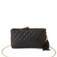 Chain Strap Quilted Cross-Body Bag by Charlotte Russe - Black