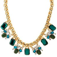 Faceted Stone Statement Necklace by Charlotte Russe - Gold