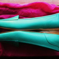 Amaizing Vintage Enzo Angiolini Shoes Seafoam Blue Leather With  Low Heels Women Loafers Size 8 M/38.5