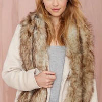 Nasty Gal Faux Fur Scarf - Heather Brown