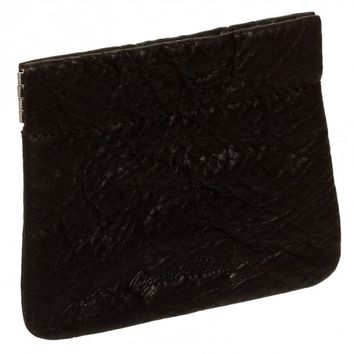 Roma Leathers Small Black Leather Squeeze Coin Pouch
