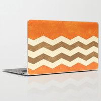 Orange, Brown and Cream Chevron Laptop & iPad Skin by Kat Mun | Society6