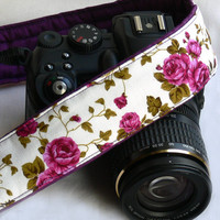 Roses Camera Strap, Floral Camera Strap, Flowers Camera Strap, Purple Camera Strap. Nikon, Canon Camera Strap, Women Accessories