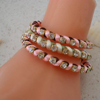 Light Pink and Light Green Bracelets - Summer Style - 3 pcs. - New