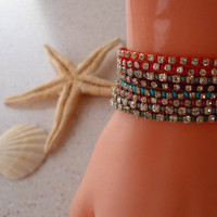 Rhinestone Bangle - Bracelet - Macrame - Summer Style - Beach - Summer - 8 diffrrent colors - Choose only ONE
