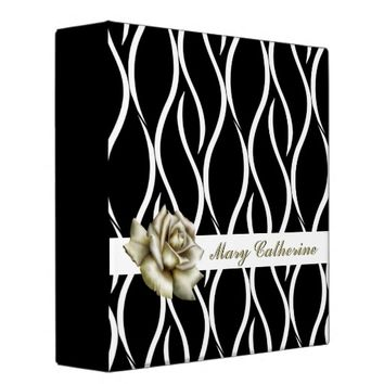 Stylish Abstract Black and White with Rose Binder