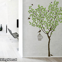 Vinyl Wall Decal Nature Design Tree Wall Decals Wall stickers Nursery wall decal wall art- spring tree with birds and bird cage z001