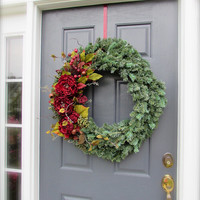 Large Winter Wreath, Large Peony Wreath, Evergreen Wreath, Holiday Wreaths