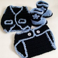 Baby Hat /Boots and Diaper Cover-Vest -Dark Denim and Soft Blue-Baby Shower Gift-#334