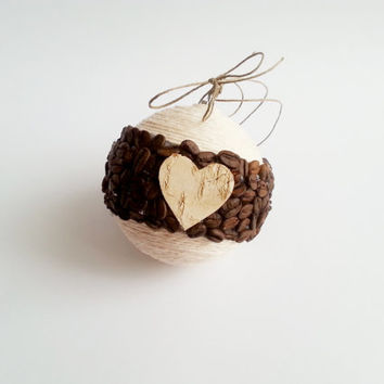 Fragrant christmas tree ornament coffee beans, birch bark heart, linen cord christmas decoration natural rustic decor