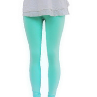 Turquoise Knit Leggings  Eco Clothing Organic Womens Clothing Pants