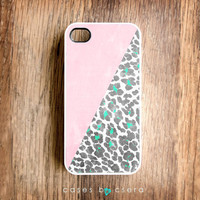 Wood iPhone Case, Geometric iPhone 4 Case, White Leopard iPhone 4S Case, Mint iPhone Case Geometric Case, Leopard Print iPhone Design iPhone