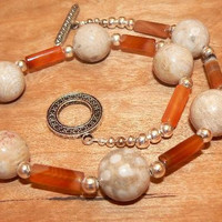 Fossil Coral Carnelian and Silver Bead Necklace