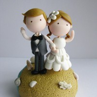 Wedding Clay Cake Topper - Beach Th.. on Luulla