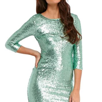 Rylin Sequin Mini Party Dress in Mint
