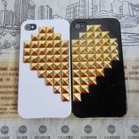 iPhone 4 4S hard Case Cover with golden heart-shaped pyramid stud For iPhone 4 Case, iPhone 4S Case,iPhone 4 GS case  -157