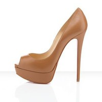 150mm Peep Toe Platform pump Brown - Sheinside.com