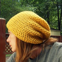 Slouchy Beanie Crochet Yellow on Luulla