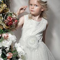 White scoop neck Flower Girl Dresses FGD167