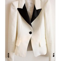 Women One Size Elegant White Blends Lapel Outwear@T210