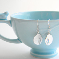 Silver Dangle Earrings - Silver Leaf Dangly Earrings