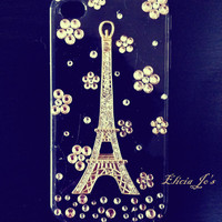 iPhone 4 case, iPhone 4s case, iPhone case, case for iPhone 4 - Eiffel Tower in Cherry Flowers, transparent black