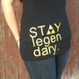 "Black ""Stay Legendary"" women's tank top with yellow"