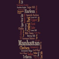 Manhattan New York Typographic Map Art Canvas Print