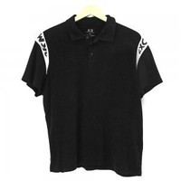 Armani Exchange Black Logo Sleeve Knit Polo Shirt Men's Size XXL (2XL)